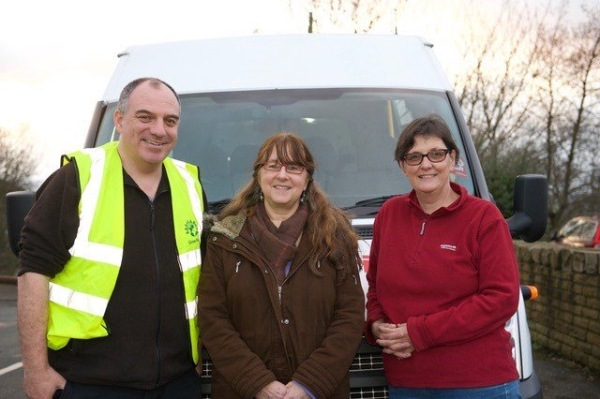 Volunteer drivers Councillor Andrew Cooper, Sue Lee-Richards and Councillor Karen Allison