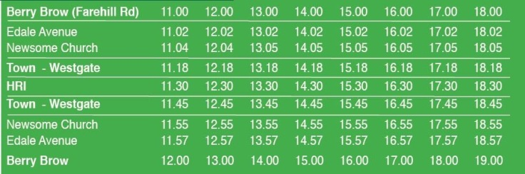 New Year's Day bus timetable